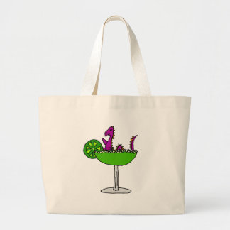 Funny Purple Loch Ness Monster in Margarita Large Tote Bag