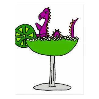 Funny Purple Loch Ness Monster in Margarita Postcard