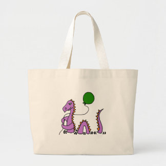 Funny Purple Loch Ness Monster with Green Balloon Large Tote Bag