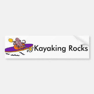 Funny Purple Octopus Kayaking Bumper Sticker