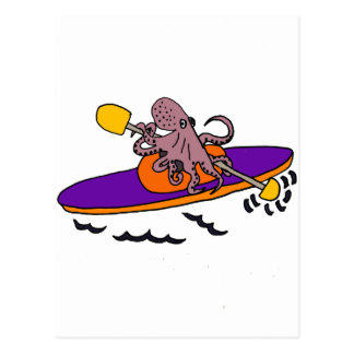 Funny Purple Octopus Kayaking Postcard