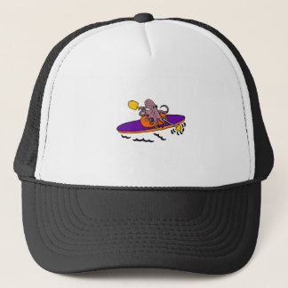 Funny Purple Octopus Kayaking Trucker Hat