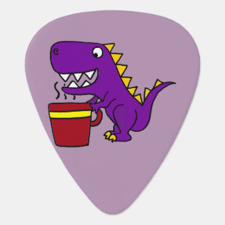 Funny Purple T-Rex Dinosaur with Coffee Mug Plectrum