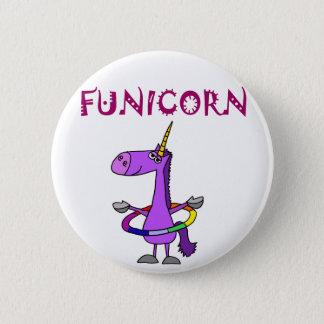 Funny Purple Unicorn with Hula Hoop 6 Cm Round Badge