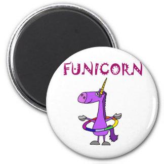 Funny Purple Unicorn with Hula Hoop 6 Cm Round Magnet