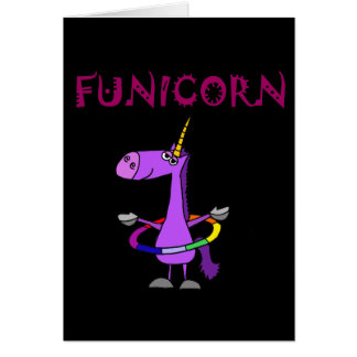 Funny Purple Unicorn with Hula Hoop Card