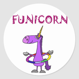 Funny Purple Unicorn with Hula Hoop Classic Round Sticker