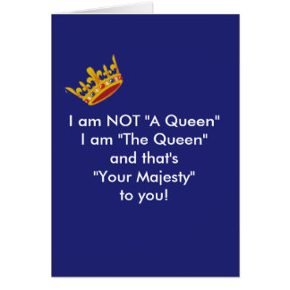 Funny Queen Card - Navy