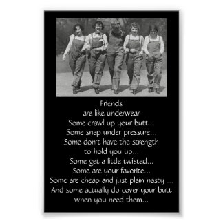 Funny Quote About Friends are Like Underwear Poster