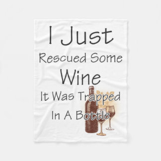 Funny Quote About Wine, Drinking Fleece Blanket