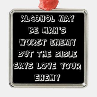 Funny Quote - Alcohol Silver-Colored Square Decoration