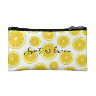 Funny quote, sweet as lemon, fresh yellow design cosmetic bag