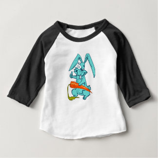 funny rabbit with carrot sweet cartoon, baby T-Shirt