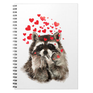 Funny Raccoon Blowing Kisses Love Hearts Spiral Notebooks