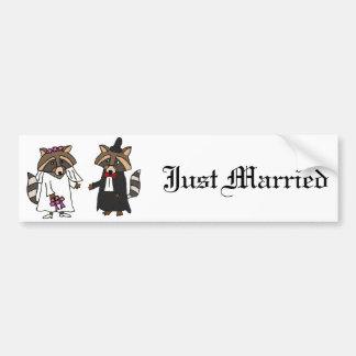 Funny Raccoon Bride and Groom Wedding Art Car Bumper Sticker