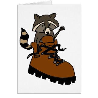 Funny Raccoon in Hiking Boot Card