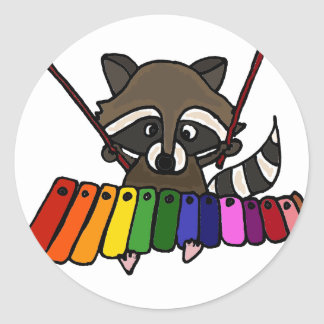 Funny Raccoon Playing Colorful Xylophone Classic Round Sticker