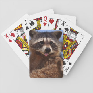 Funny Raccoon Sticking It's Tongue Out Playing Cards