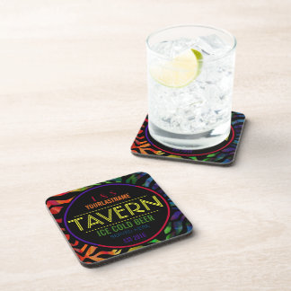 Funny Rainbow Couple Personalized Tavern Coaster