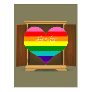 Funny Rainbow Heart LGBT coming out of the closet Postcard