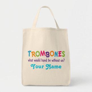 Funny Rainbow Trombone Band Gift Tote Bag