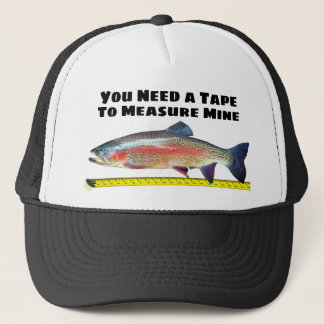 Funny Rainbow Trout and Tape Measure Trucker Hat