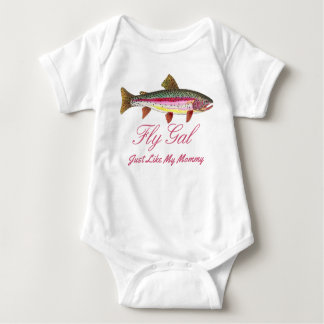 Funny Rainbow Trout Fly Fishing Mommy Baby Bodysuit