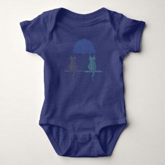 Funny Rainy Day Cats Umbrella Stitched Baby Bodysuit