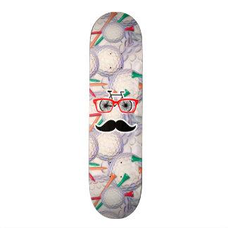 Funny Random Mustache, Golf Balls & Tees Custom Skateboard