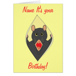 Funny Rat birthday card Add name front for anyone.