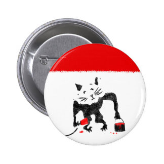Funny Rat Playing With Red Paint 6 Cm Round Badge
