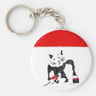 Funny Rat Playing With Red Paint Basic Round Button Key Ring