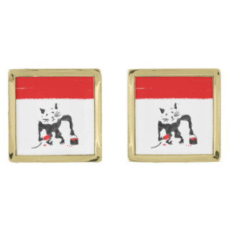 Funny Rat Playing With Red Paint Gold Finish Cufflinks