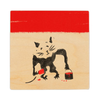 Funny Rat Playing With Red Paint Maple Wood Coaster