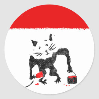 Funny Rat Playing With Red Paint Round Sticker