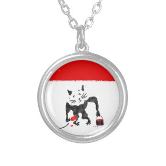 Funny Rat Playing With Red Paint Silver Plated Necklace