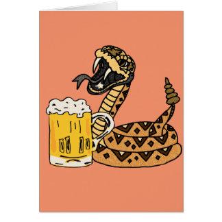 Funny Rattlesnake Drinking Beer Card