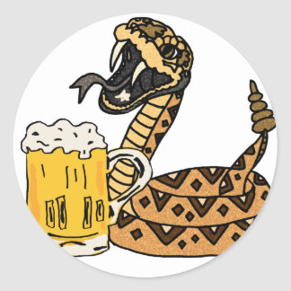 Funny Rattlesnake Drinking Beer Classic Round Sticker