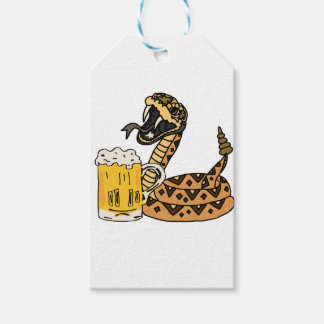 Funny Rattlesnake Drinking Beer Gift Tags