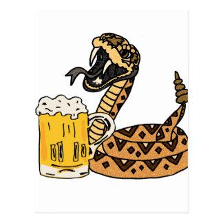 Funny Rattlesnake Drinking Beer Postcard