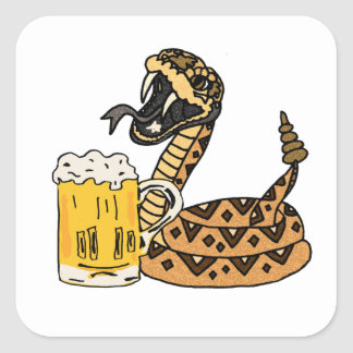 Funny Rattlesnake Drinking Beer Square Sticker