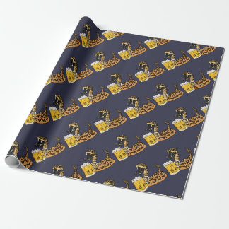 Funny Rattlesnake Drinking Beer Wrapping Paper