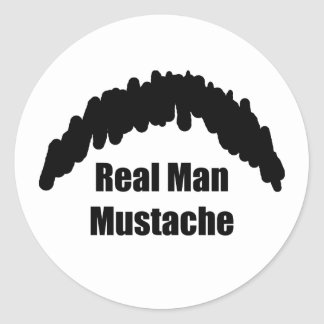Funny Real Men Cookie Duster Mustache Classic Round Sticker