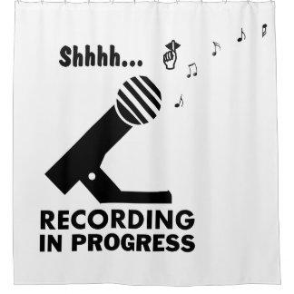 "funny ""recording in progress"" shower curtain"