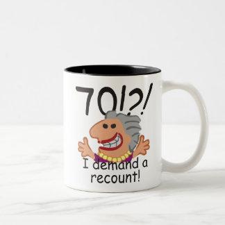 Funny Recount 70th Birthday Two-Tone Coffee Mug