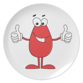 Funny Red Cartoon Plates