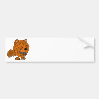 Funny Red Chow Chow Dog Art Bumper Sticker