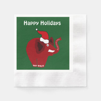 Funny Red Christmas Elephant Disposable Serviette