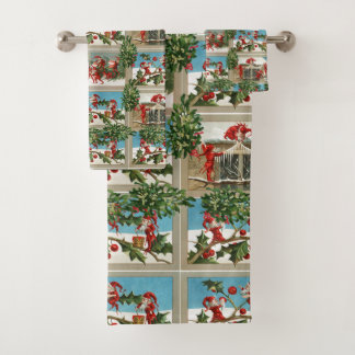 FUNNY RED CHRISTMAS ELVES,HOLLYBERRIES,MISTLETOES BATH TOWEL SET