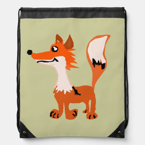 Funny Red Fox Art Cinch Bags